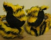 Kids Tiger Novelty Slippers,Yellow and Black Plush,White Poodle Fur Lined,Size 3 Cool Kids Footwear,Ages 4-5,Easter Kids Gift,Easter Present