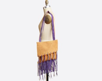 Vintage 70s SUEDE FRINGE PURSE / 1970s Boho Leather Shoulder Bag