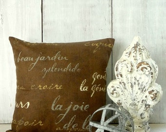 Chocolate Brown French Script Pillow Cover - Waverly Script - French Writing Pillow - Paris Cottage - Shabby - Farmhouse - Industrial