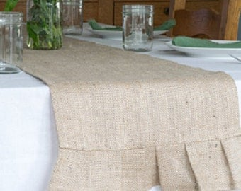 Burlap Table Runner, Pleated, 14 X 60 Inches, Best Used For 4 Ft