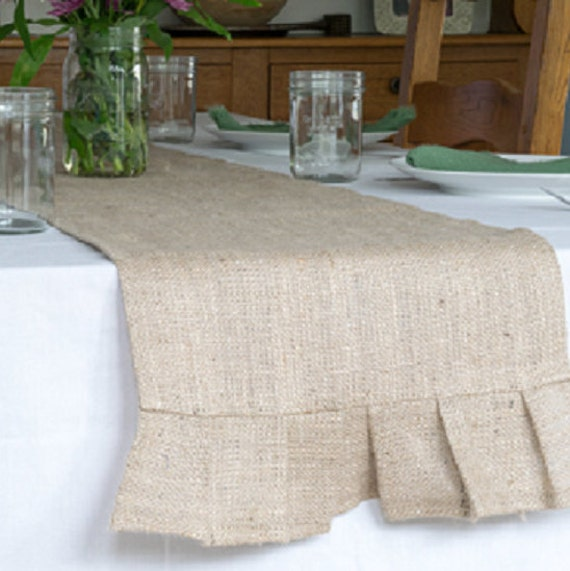 Burlap Table Runner, Pleated, 14 x 60 inches, best used for 4 ft. table