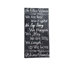 In This House Family sign rustic primitive distressed