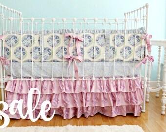 SALE* Purple Crib Bedding Set , Taffy Topiary Ruffles Baby Girl Crib Bedding , pink and purple nursery , ruffle baby bedding