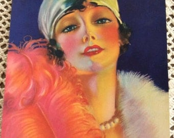 Vintage 1920s Calendar Flapper Lady Colorful Picture From A Genuine 1920s Calendar P. Wilson Hammell Artist