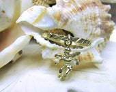 10k Yellow Gold Guardian Angel Dangle Charm Movable Ring 1gram Size 6