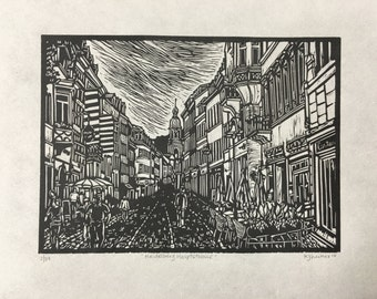 Heidelberg Hauptstrasse Original Linocut City Print