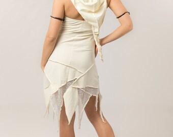 Hooded Pixie Fairy White Wedding Dress - White dress  - Women's clothing - goa - psytrance