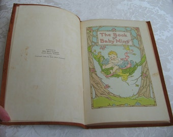 The Book of Baby Mine Vintage 1940 Soft Leather Bound Keepsake By Baby Mine Company Mostly Unused, SWEET Pastel Graphics