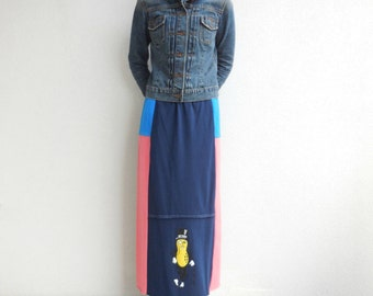 Long T Shirt Skirt Upcycled Tees Mr. Peanut Women's Skirt Blue Black Brown Coral Fashion Cotton Soft Fun Summer Fall by ohzie