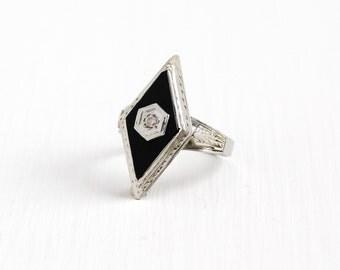 Antique Art Deco 14K White Gold Onyx & Diamond Marquise Ring - Vintage 1920s Size 6 Filigree Embossed Black Gemstone Statement Fine Jewelry