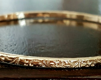 Gold Bangle Bracelet, Floral Pattern Bangle, Stacking Bangle, Handmade Bracelet, Mother Day Gift, Gold Bangles, Modern Timeless Bracelets