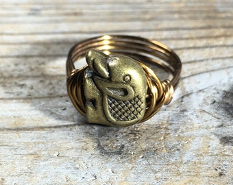size 9.25 , 9 1/4 - Antique brass gold wire wrapped metal Elephant ring - bohemian simple minimalist animal totem medicine men women unisex