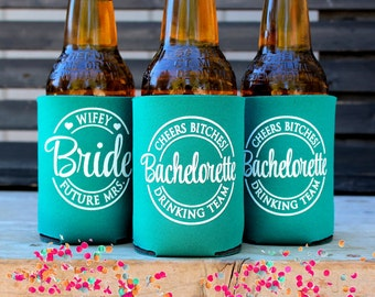 Cheers Bitches, Future Mrs. Bachelorette Drinking Team, Bachelorette Party Favors, Can Coolers, with matching Bride cooler, Teal Green