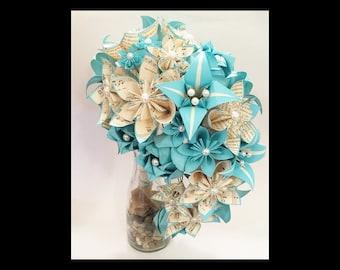 Cascading Bridal Bouquet- Paper Bouquet, one of a kind origami, Brides bouquet, kusudama, paper roses and lilies, your color scheme