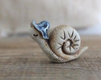 Vintage handmade art pottery snail figurine