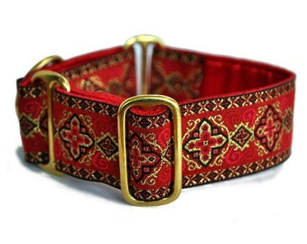 Martingale Dog Collar or Buckle Dog Collar - Nobility Jacquard in Red - 1.5 Inch