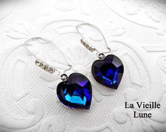 Bermuda Blue Heart Earrings, Victorian Earrings, Blue Glass Jewel Earrings, Valentine Jewelry