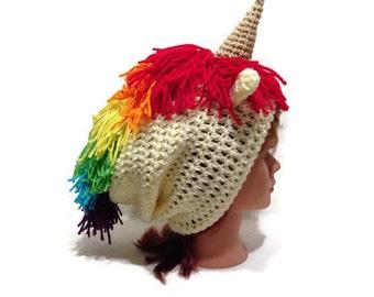 Unicorn Slouchy Hat, Rainbow Unicorn, Unicorn Beanie, Unicorn Horn Hat, Rainbow Mane, Rainbow Hat, Kawaii Hat, Unicorn Cosplay, Unicorns