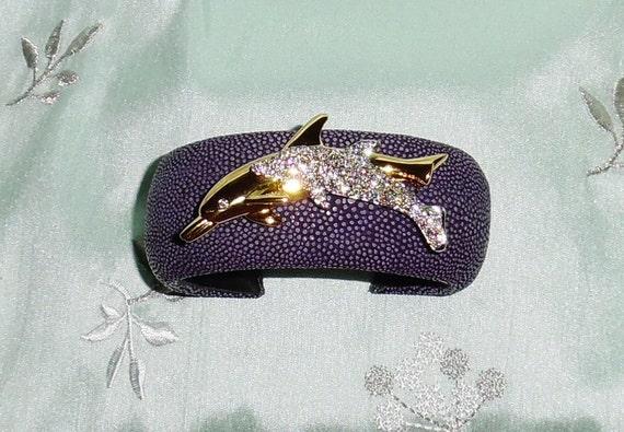 """GENUINE Stingray Purple Polished Leather, Swarovski Crystal Dolphins, 1 1/4"""" W, Cuff Bracelet"""