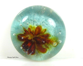 18mm Glass Cabochon, Beach Orchid ,  Lampwork Bead Jewelry Supply - Small Cab