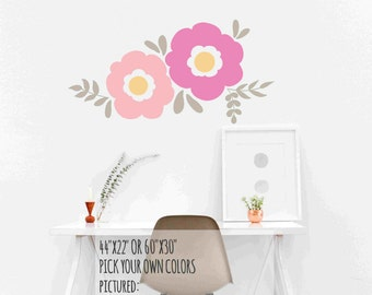 FLOWER  Wall Decals / floral wall decal, floral wall mural, flower wall decor, girl wall decals, teen wall decals, wall decals nursery, baby