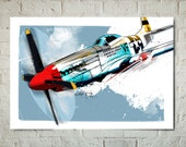WWII, Airplane, Decor, P-51 Mustang, WW2, Vintage Airplane, Airplane Art Print, Aviation Poster, Military, Airplane Gift, Art for Boys