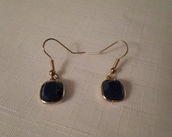 BLUE LIZ CLAIBORNE Earrings / Pierced / Lucite / Gold / Designer / Signed / Classic / Fashionista / Chic / Trendy / Modernist / Accessories