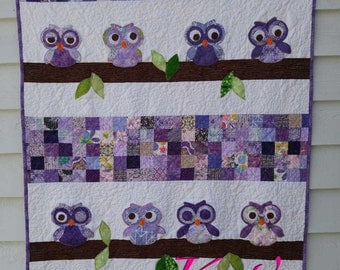 Owl quilt for Baby Shower in purple with small patch work quilting | Owl baby purple blanket | Owl throw | Purple Owl Quilt Baby Shower