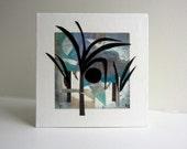 Modern art collage, original artwork, Nature inspired art, small format cut-out art
