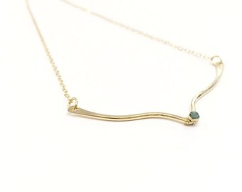 Chevron Blue Diamond 14 K Gold Filled Necklace 14 Karat Layering Necklace Stacking Minimalist V Shape Bird Geometric Necklace