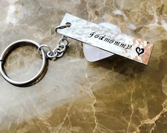 Textured Custom Keychain - Custom Fob, Hand Stamped Keychain - Personalized Stamped Keychain - Your Name, Quote, Decorate Your Keys