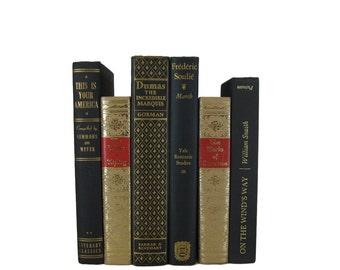Black Gold  Vintage Books, Wedding Decor, Photo Prop, Vintage Books , Decorative Books ,  Gift For Book Lover, Gift for Her , Home Decor,