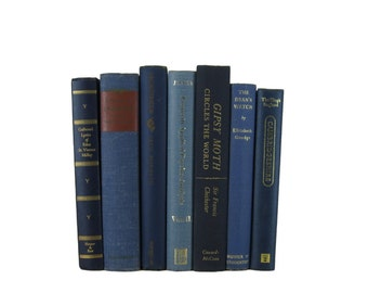 Blue Book Stack , Blue Vintage Books , Home Decor , Old Books ,  Photo Prop , Bookshelf Decor , Table Setting , Wedding Decor