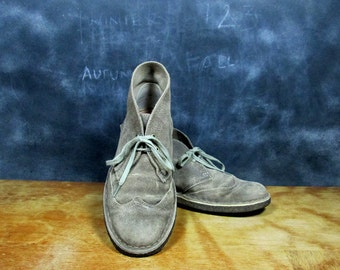 Vintage Desert Boots - Suede Booties - Ankle Boots - Chukka Boots - 1980s Original Desert Boots - Size 7 Euro 37.5 UK 4.5