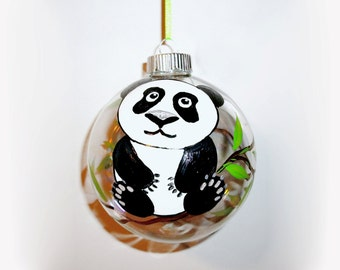 Hand Painted Christmas Ornament Baby's First Christmas Baby Panda Bear Ornament 4 inch Glass Ball Personalized with Name Date Weight & Time