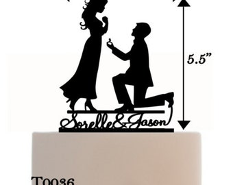 Wedding Cake Topper Engagement with two names and a Romantic Silhouette