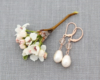 Crystal Pearl Rose Gold Wedding Earrings, Swarovski Crystal Pearl Jewelry, Champagne, Pink Rose Blush Bridal Earrings