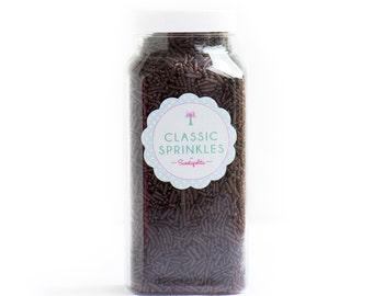 Chocolate Jimmies, Gluten-Free, Vegan, Skinny Sprinkles, Brown Sprinkles, Canadian Sprinkles--MED 8oz