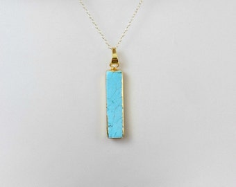 Turquoise Necklace, Turquoise Bar Necklace, Gold Necklace, Long Bar Necklace, Vertical Bar Necklace, Layering Necklace, Simple Necklace