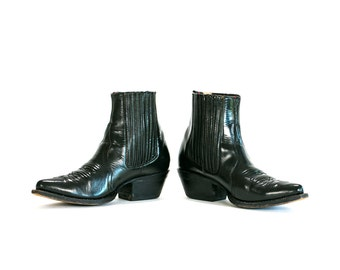 Vintage Vtg 1980's 80's Black Leather Billy Boots Brand Shiny Pointed Toe Western Country Boots Women's 8 9 USA