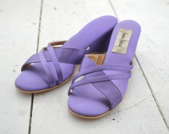 1960s Neiman Marcus Blue-Violet Wedge Slippers, Size 6