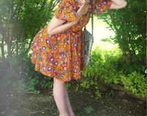 Vintage Psychedelic Mod Floral Print Mini Babydoll Dress 1970's Summer Mini Dress