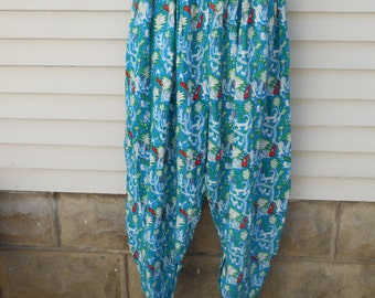 Vintage Harem Pants From Indonesia with Tropical Forest, Monkey and Birds Print