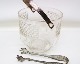 Vintage Glass Ice Bucket, Hammered Aluminum Ice Tongs, Retro Barware, Pressed Glass Ice Holder