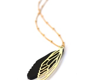 Dragonfly wing necklace, Black dragonfly wing with golden outline charm on a  Gold filled chain, Dragonfly wing pendant