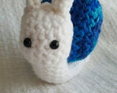 Blue and White OOAK Amigurumi Snail