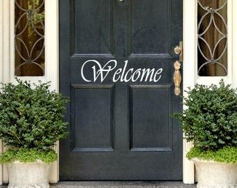 Welcome Door Vinyl Decal, Front Door Decal, Welcome Vinyl Door Decals, Front Porch Sign,  Front Door Sign, Housewarming Gift, Welcome Vinyl
