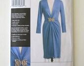 2000s Cocktail Dress Pattern Vogue V8578 Womens Low Cut Draped Dress Pattern Claire Shaffer Custom Couture Size 16-22 Bust 38-44 UNCUT