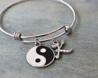yin yang bracelet, ying yang jewelry, zen jewelry, best friend gift, matching gift, bridesmaid gift, yoga jewelry, unisex, expendable bangle