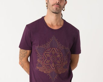 Sacred Geometry Mens Shirt Psychedelic Purple T shirt Anahata Yantra Uv Reactive Spiritual Mandala Festival Clothing